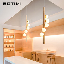 Creative Modern Wooden Pendant Light with Glass Balls For Dining Room Nordic Loft Hanging Lamp Suspension Lighting