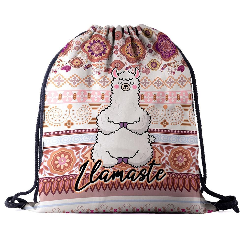 Drawstring Backpack Bag 3D Printing Alpaca Women Men Daily Casual  Mochila Knapsack Feminina Bundle Pocket Rope Bags Factory New