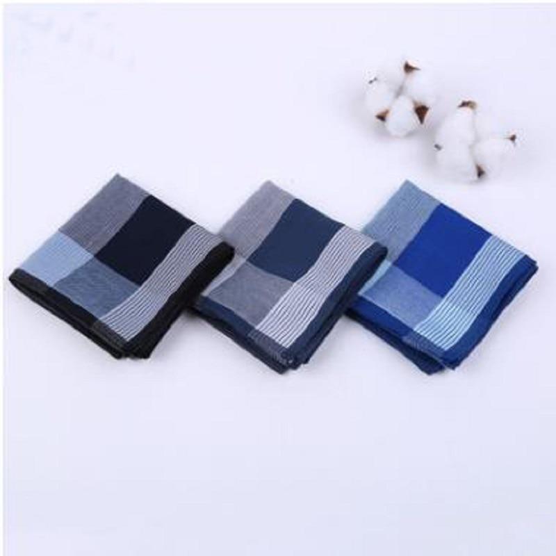 12 Pcs/lot Men 43cm Combed Cotton Handkerchief Cotton Quality Soft Handkerchief