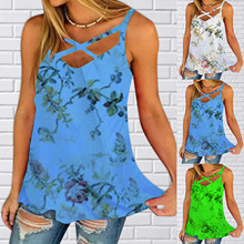 Summer Clothes For Women Top Mujer Fashion Summer New Vest Deep V Neck Sleeveless Floral Print Top Roupas Femininas Haut Femme