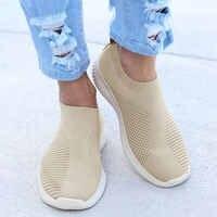 Lucyever mulher primavera outono tênis malha vulcanizada sapatos casuais deslizamento em sapatos de caminhada plana macio zapatos de mujer