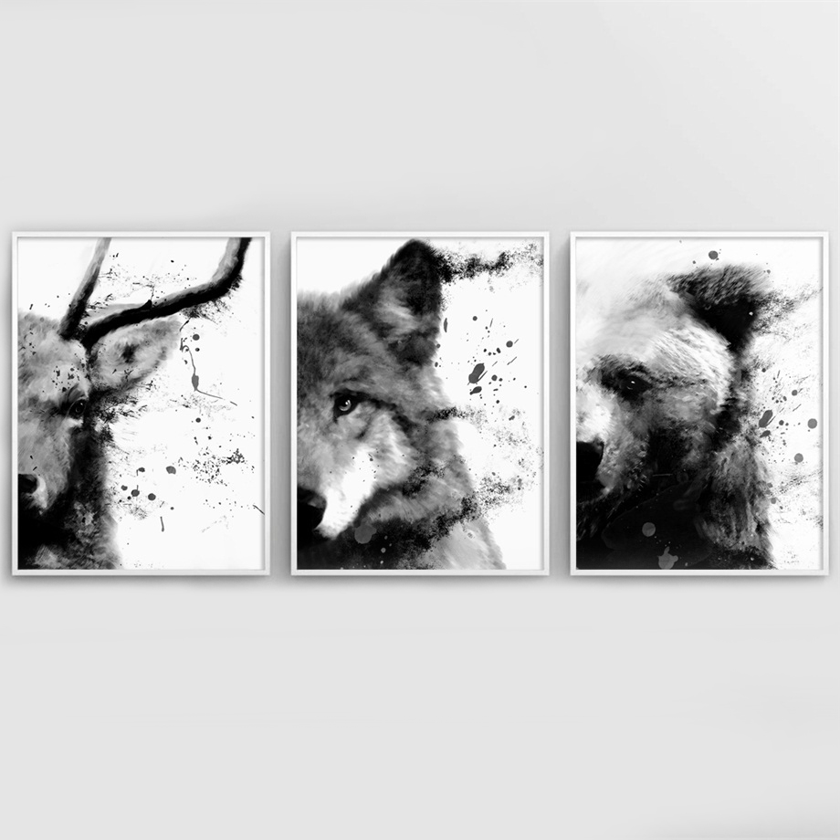 Bear Wolf Deer Elephant Watercolor Animal Nordic Posters And Prints Wall Art Canvas Painting Decoration Pictures For Living Room