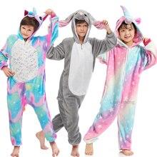 цены на Children Kigurumi Animal Pajamas Winter Flannel Cartoon Unicornio Sleepwear Boy Girls Anime Unicorn Onesie Kids Pyjamas Overalls  в интернет-магазинах