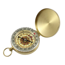 Outdoor Portable Pure copper clamshell compass with luminous pocket watch multi-function metal measuring ruler tool