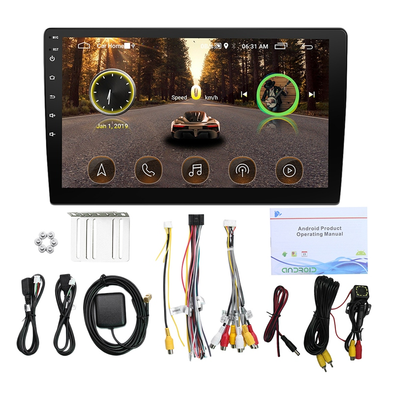 10.1 Cal Real Android 8.1 Radio samochodowe nawigacja samochodowa gps nawigacja wifi Bluetooth Car Mp5 odtwarzacz multimedialny z tylną kamerą 12 led