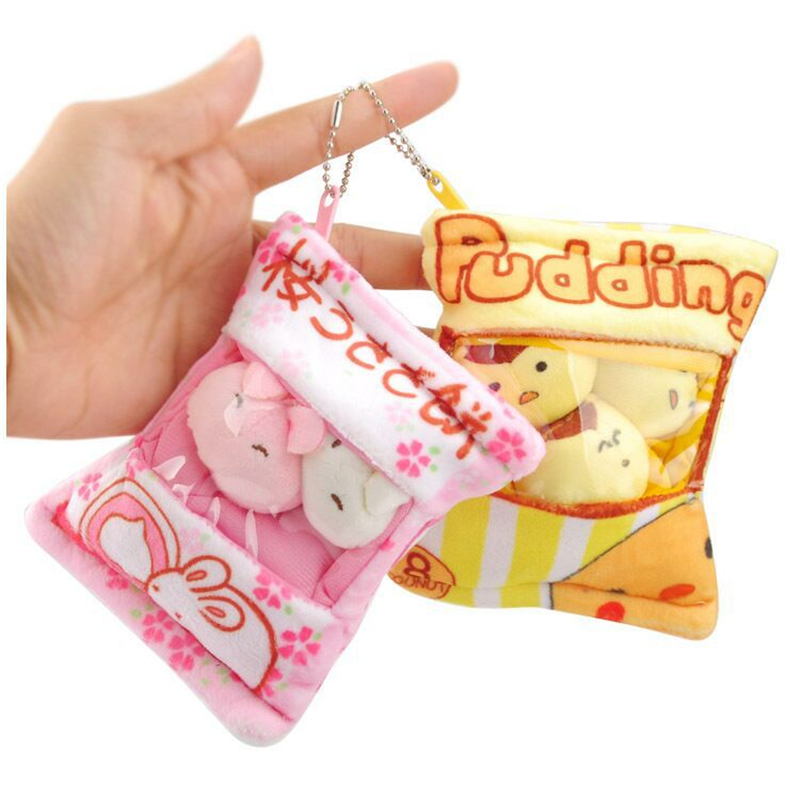 Cute Cartoon Pig Rabbit Puppy Snack Bag Plush Toy Dog Pudding Throw Pillow Mini Pendant Stuffed Plush Dolls Baby Kids Gifts
