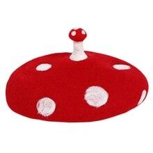 Beanie-Hat Beret-Cap Mushroom Cute Painter Wool Vintage White Kids Women Small Point