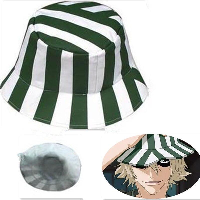Anime Bleach Urahara Kisuke Cosplay Hat Cap Dome Green And White Striped Summer Cool Hat Watermelon Hat
