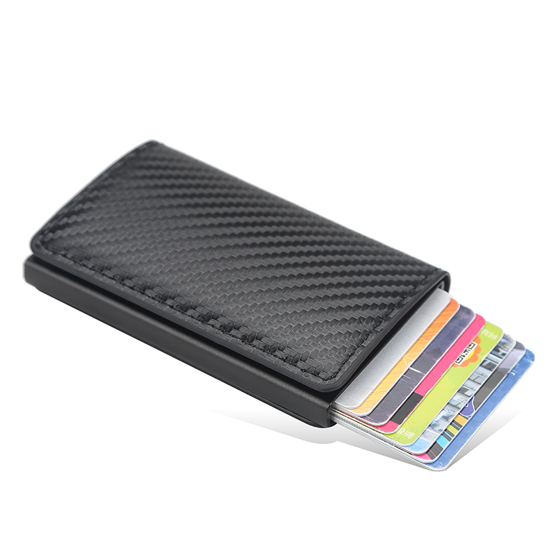 New Carbon Fiber RFID Blocking Men\'s Credit Card Holder Leather Bank Card Wallet Case Cardholder Protection Purse For Women