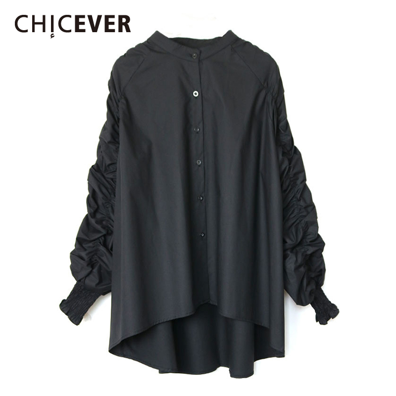 CHICEVER Ruched Asymmetric Women's Shirt Stand Collar Puff Long Sleeve Oversize Loose Blouse Female 2020 Fashion Clothes New