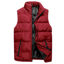 W nowym stylu kamizelka męska jesienno-zimowa puchowa bawełniana kamizelka modna kurtka Trend jednokolorowa kamizelka bez rękawów puchowa tanie tanio REGULAR zipper Grube
