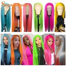 Фронтальный парик из серых человеческих волос, предварительно выщипанный парик без повреждений на сетке, цветной парик цвета: блонд, розовы...