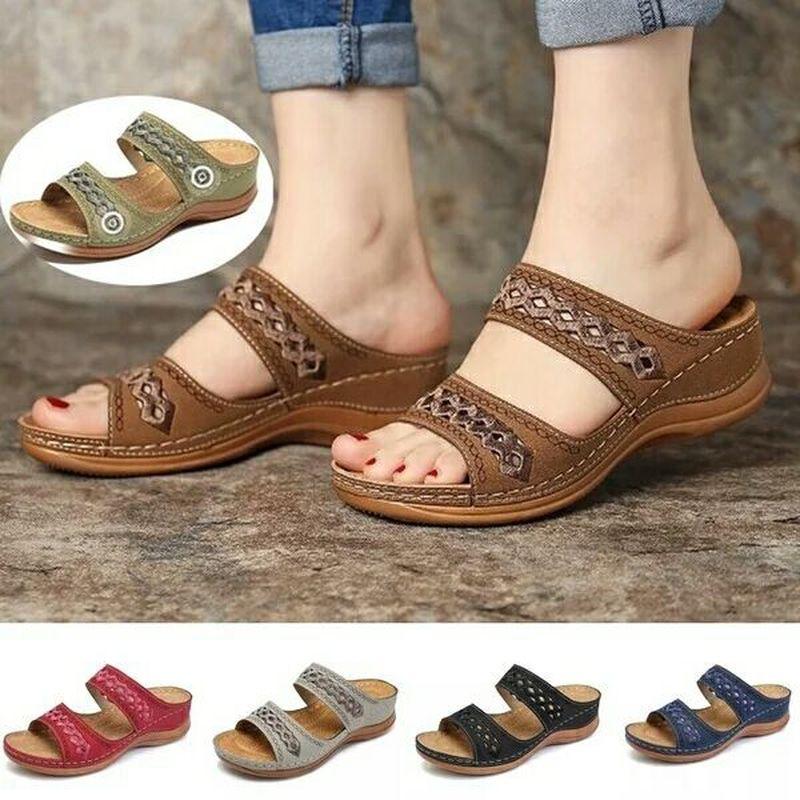 Women Sandals Orthopedic Slippers Open Toe Summer Shoes Vintage Low Heels Female Platform Shoes Corrector Sponge Walking Sandals