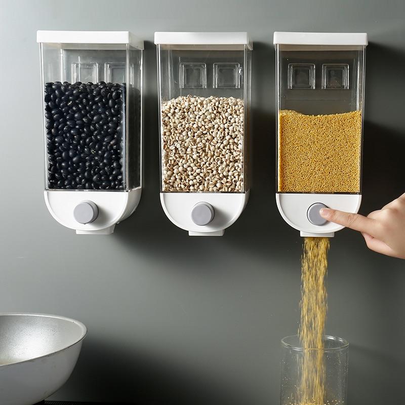 1 шт., 1000 мл/1500 мл, коробка для хранения зерна, настенный резервуар для дома, зерновых бобов, рисовый контейнер, диспенсер для овсянки Бутылки, банки и коробки      АлиЭкспресс