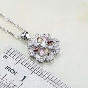 Image 3 - Flower Multicolor Zircon 925 Silver Jewelry Sets For Women Wedding Earrings/Pendant/Ring/Bracelet/Necklace Set