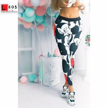 Mickey Women Leggings Fitness Stretchy Pants For Cartoon Sweatpants Lady Leggings Female 3D Mickey Pants Sport Trousers New