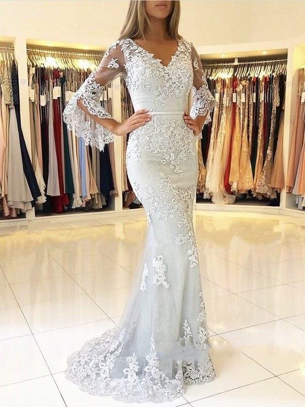 Robe De demoiselle d'honneur col v manches longues sirène arabe 2019 dentelle Robe De soirée longue Robe formelle abiye gece elbisesi
