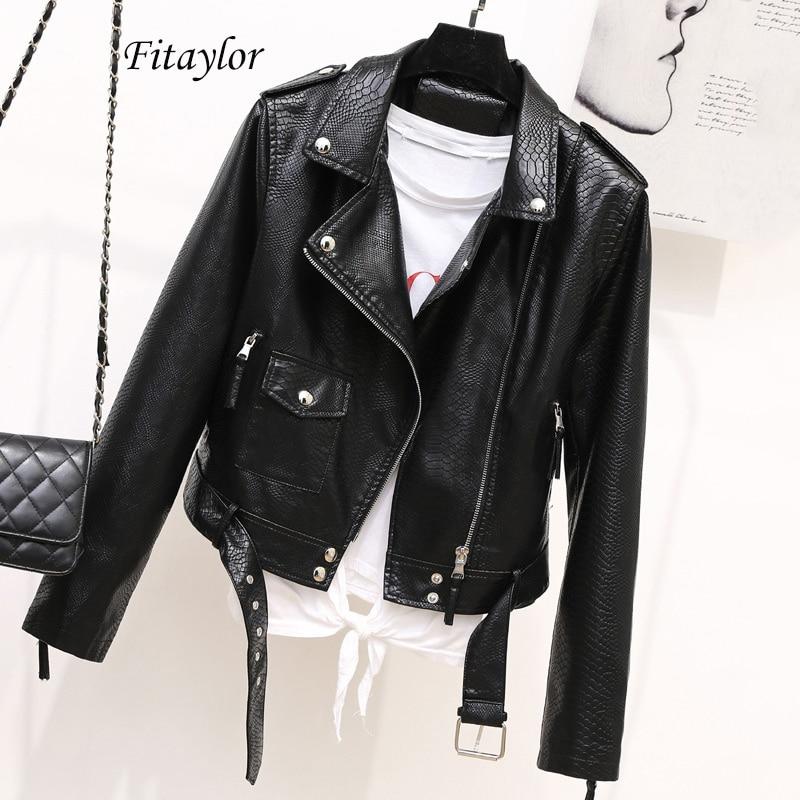 Fitaylor Autumn Faux Soft Leather Black Punk Jacket Coats Women Pu Faux Serpentine Moto Zipper Rivet Short Outwear With Belt