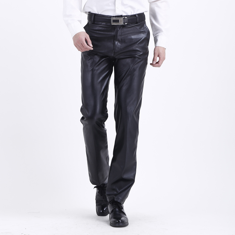 Summer Mens Business Slim Fit Stretchy Black Faux Leather Pants Male Elastic Tight Trousers PU Leather Shinny Pencil Pants