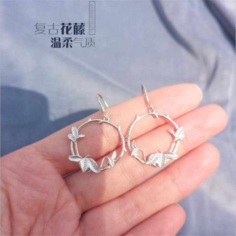 New Fashion Flower Vine Female 925 Sterling Silver Jewelry Ear Hook Temperament Fairy Branch Exquisite Earrings  SE203