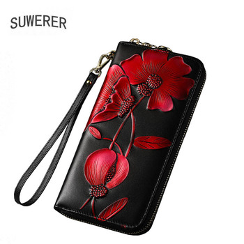 SUWERER NEW Women genuine cowhide leather bags women wallet fashion Embossing clutch bag Luxury women bag tomubird 2018 new women genuine leather bag handmade embossing flower top cowhide luxury tote women leather shoulder bags