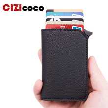2019 Fashion Unisex Credit Card Holder RFID Aluminium New Business Card Holder Crazy Horse PU Leather Travel Card Wallet цена и фото