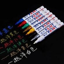 12 цветов Универсальный Воском Губка Ручка маркер водонепроницаемый металлик цвета диск для балансировки шин металлические перманентные ручки каракули ручка