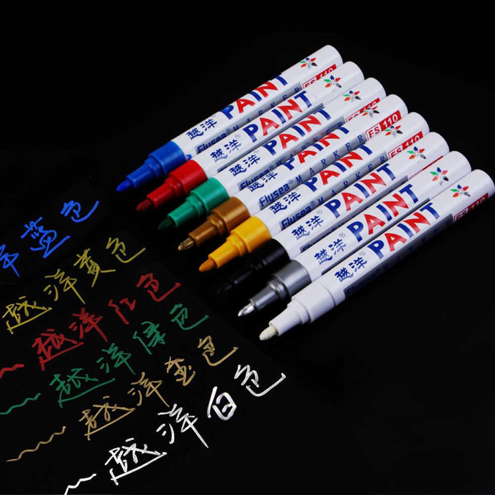 12 kleuren Universele Waxen Spons Verf Pen Marker Waterdicht Metallic Kleuren Autobanden Metal Permanente Pennen Doodle Pen