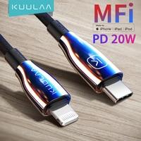 KUULAA MFi USB tipo C para Lightning Cable PD 20W rápida Cable de carga para iPhone 11 12 Pro Max X XS X XR 8 Plus Macbook iPad Pro