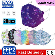 20PCS Adult ffp2 Mask CE KN95 Mascarillas fpp2 Homologada Spring Flower Print Mask Breathable Mouth Face Mask Fish Dust kn95mask