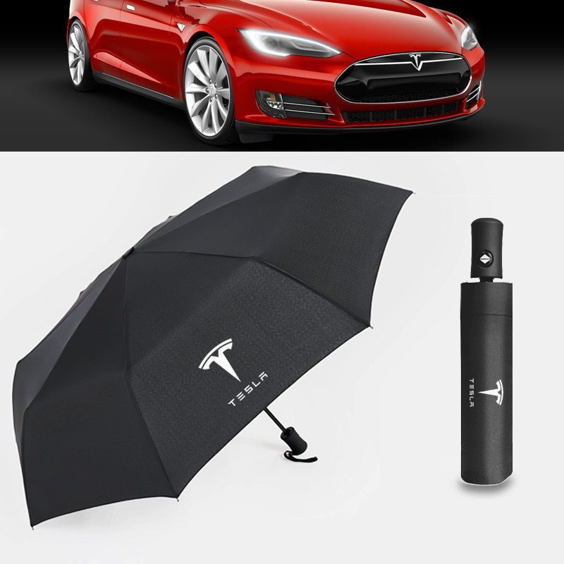 Logotipo do carro totalmente automático dobrável guarda-chuva pára-sol para tesla modelo 3 modelo s modelo x modelo y acessórios do carro