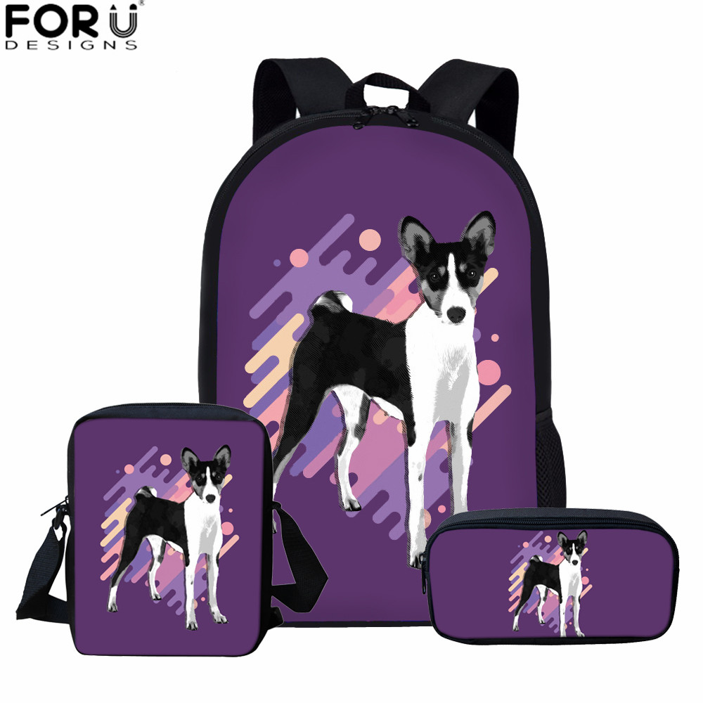 FORUDESIGNS Kids Schoolbags Set Basenji Dog Prints Cute Book Bags Girls School Bags For Children Students Kids School Backpacks