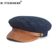 BUTTERMERE Denim Leather Patchwork Newsboy Cap Women Flat Cap Retro Blue Casual Beret 2021 Spring Brand Ladies Baker Boy Hat