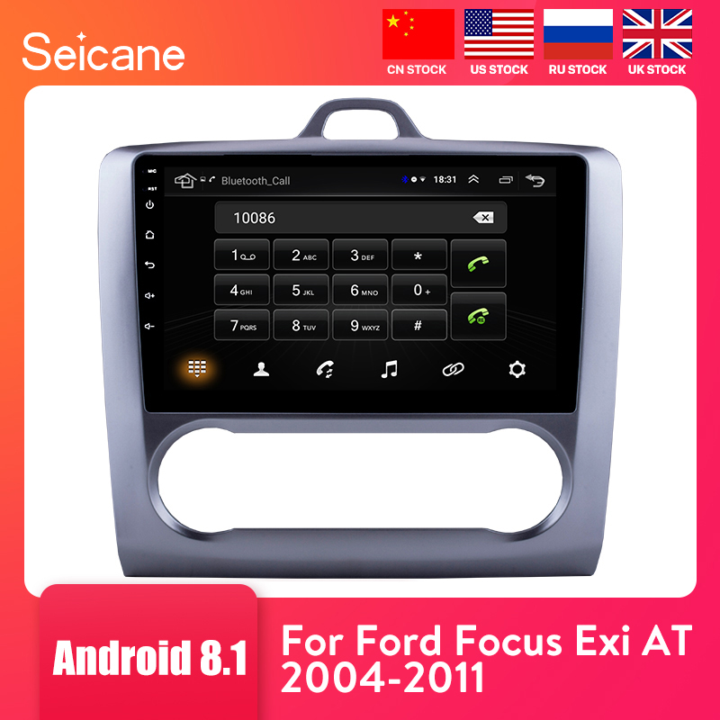 Seicane 2 DIN 9 Inch Android 8.1 GPS Navigation Touchscreen Quad-core Car Radio For 2004 2005 2006-2011 Ford Focus Exi AT