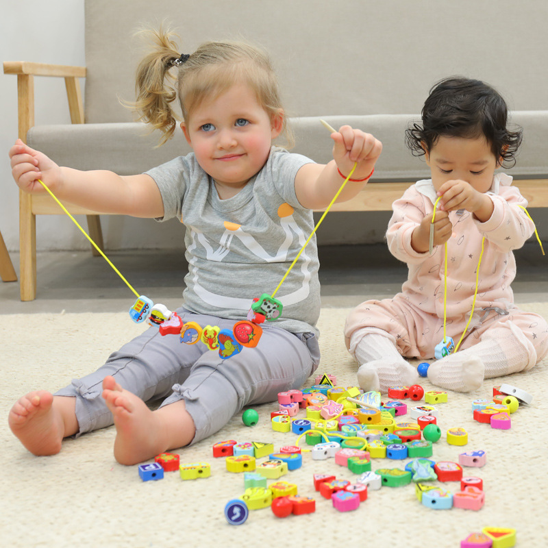 Beads Baby Children 1-3 Years Old Educational Force String Solid Wood Baby Toy 3-Year-Old 4-Year-Old 5-Year-Old Building Blocks