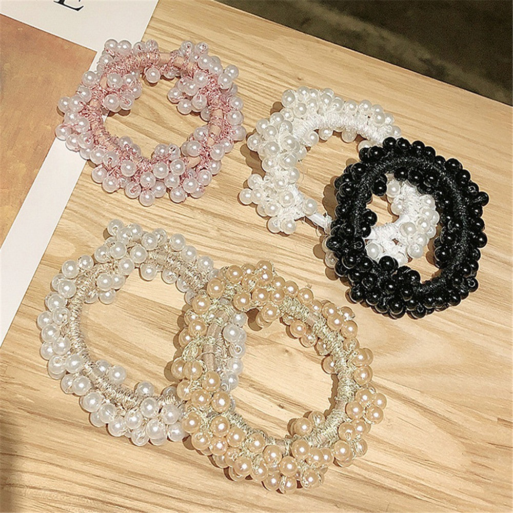 2019 New Arrival Fashion Pearl Beads Scrunchies Elastic Hair Rope Gum For Woman Ponytail Holders