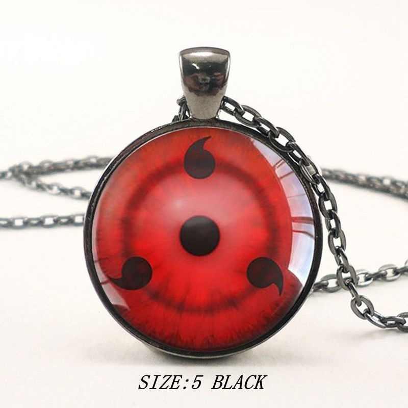 Clássico naruto série tempo gem colar moda simples vidro redondo olhos pingente colar feminino venda quente camisola jóias