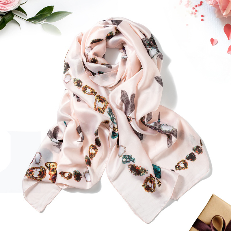 Fashion Women Satin <font><b>Silk</b></font> <font><b>Scarf</b></font> Sunscreen Shawl Ladies High Quality Imitation <font><b>Silk</b></font> Festival Long Neckerchief <font><b>180*90cm</b></font> image