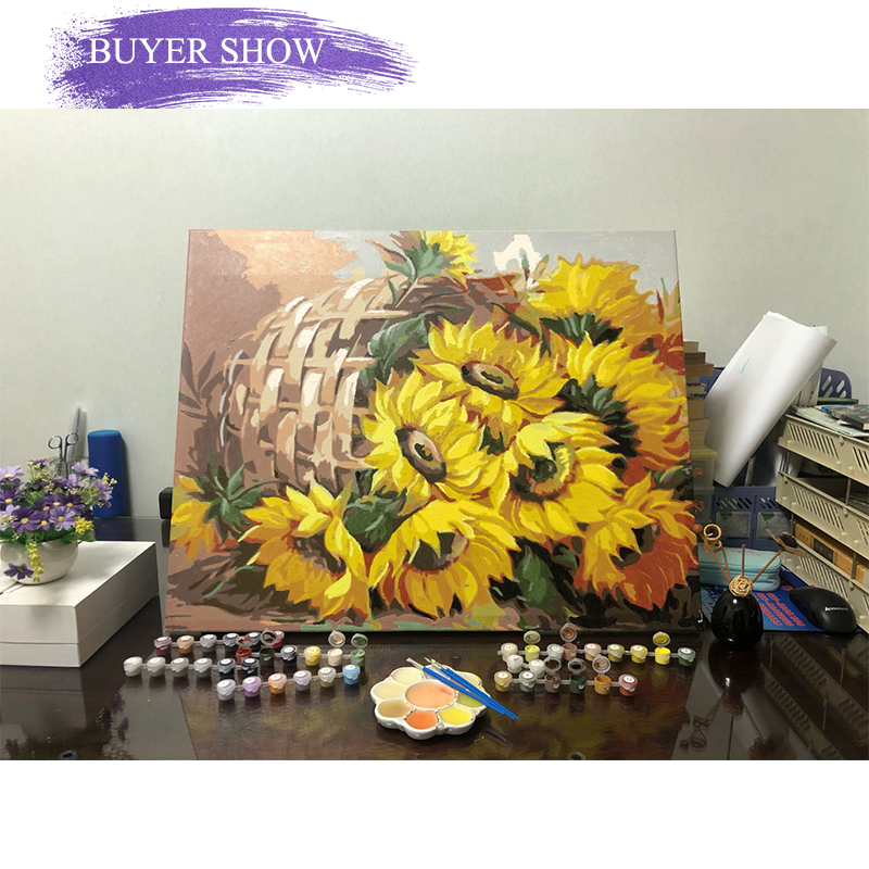 Hc15f07779baf44d5bd448d7525724018T SDOYUNO 60x75cm Frame DIY Painting By Numbers Kits Sunflowers Abstract Modern Home Wall Art Picture Flowers Paint By Numbers