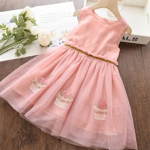 Halilo Kids Summer Dresses Sleeveless Pink Embrodiery Girls Sequin Party Dress Casual Children Clothing Birthday Toddler Dress