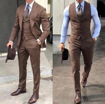 Classy Wedding Tuxedos Suits Slim Fit Bridegroom For Men 3 Pieces Groomsmen Suit Male Cheap Formal Business  (Jacket+Vest+Pants) 8