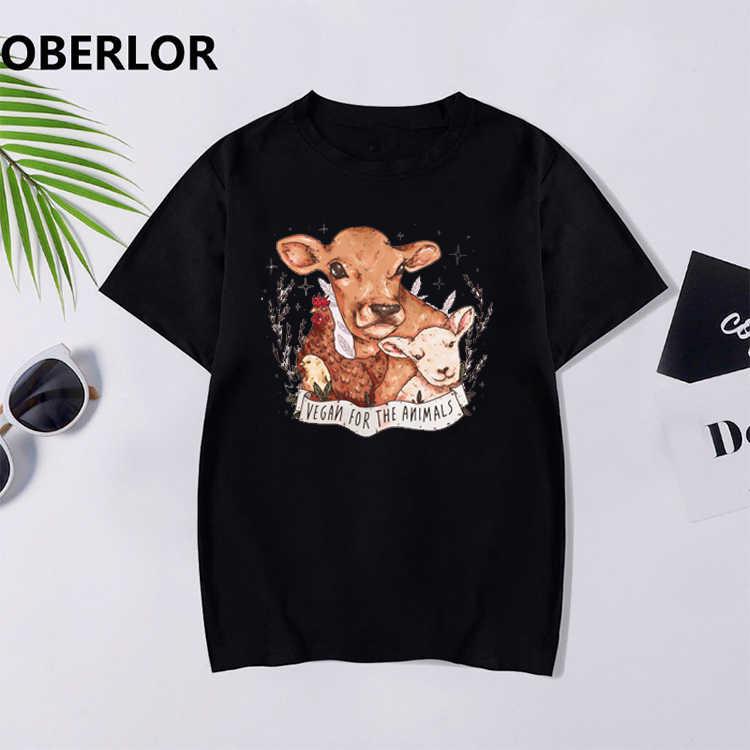Kadın siyah tişörtleri moda Ulzzang Harajuku Kawaii Vogue T Shirt Vegan hayvanlar Tee Tops koyun, tavuk, inek bayan giyim
