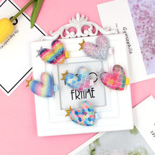 New Korean Girls Baby Colorful Hair Accessories Rainbow Color Love Hairpin Cute Duckbill Clip Side Clip All-inclusive Cloth Card(China)