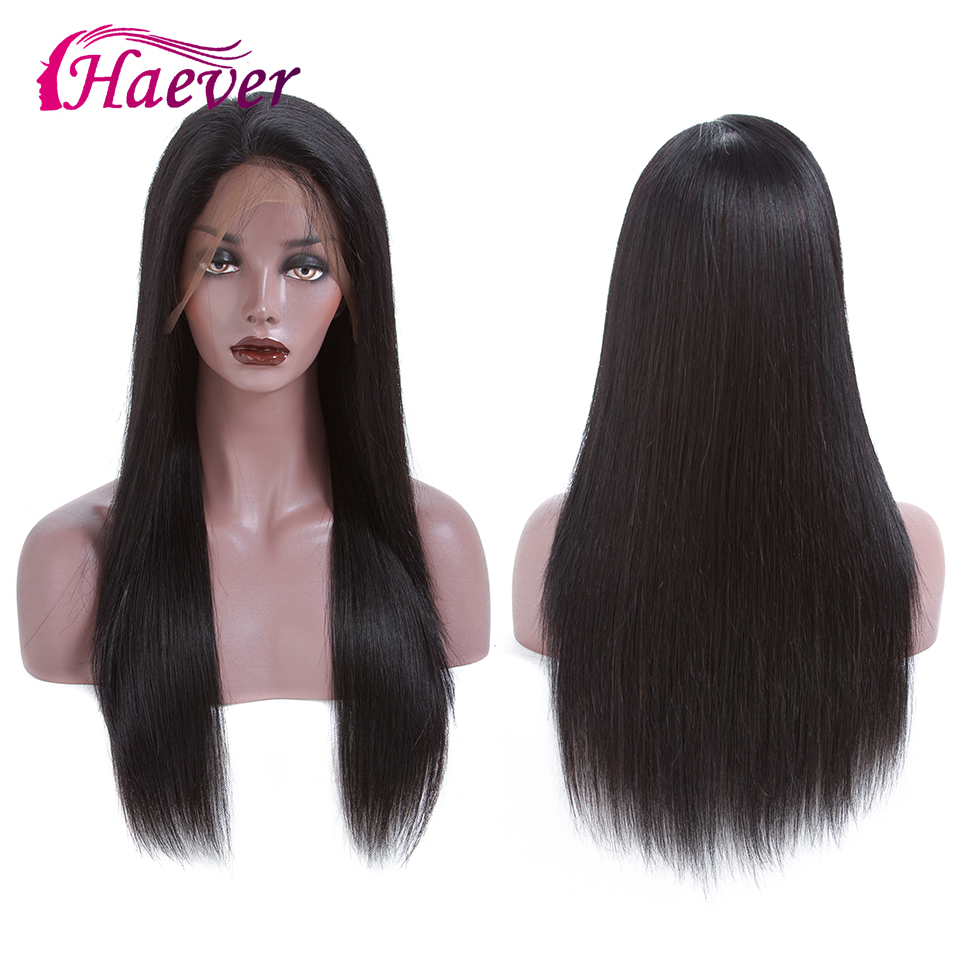 Haever Lace Front Human Hair Wigs 13x4 PrePlucked Brazilian Hair Wigs Remy Straight Lace Front Wig With Baby Hair 180% Density