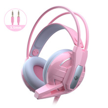 Free Shipping Gaming Headphones Wired Girl Pink Stereo Large Headphone Noise Canceling Headphone With microphone