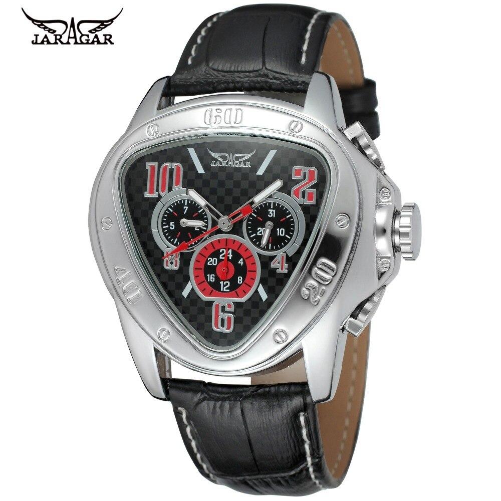 Fashion Triangle Design JARAGAR Men Luxury Brand Watch Military Leather Tourbillion Automatic Mechanical Wristwatches Gift Box