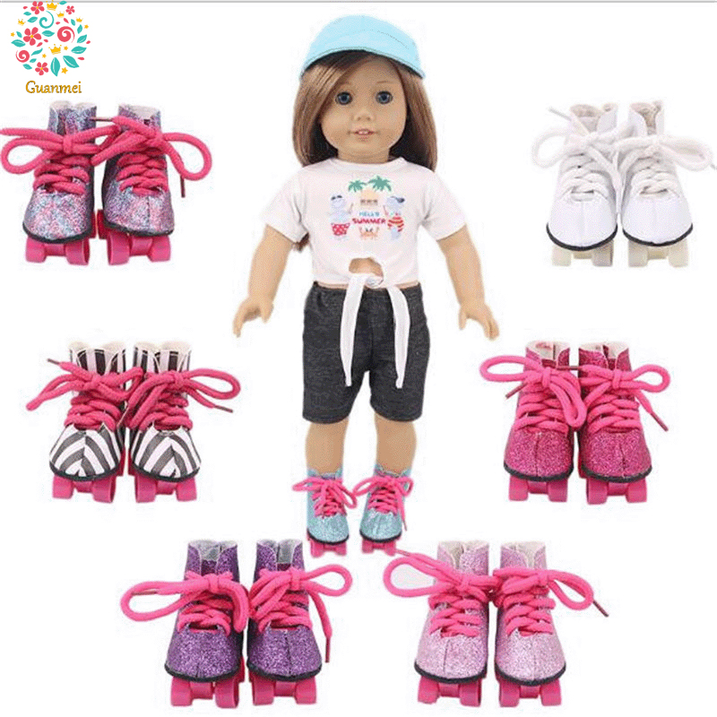 Hot Slae Baby <font><b>New</b></font> <font><b>Born</b></font> Doll Accessories Roller Skates Doll Shoes 18 inch American og Girl Doll boots BJD family <font><b>toy</b></font> canvas shoes image