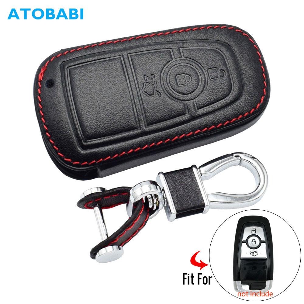 Leather Car Key Case For Ford Mustang 2018 EcoSport 3 Buttons Smart Remote Fobs Shell Cover Keys Bag Keychain Auto Accessories