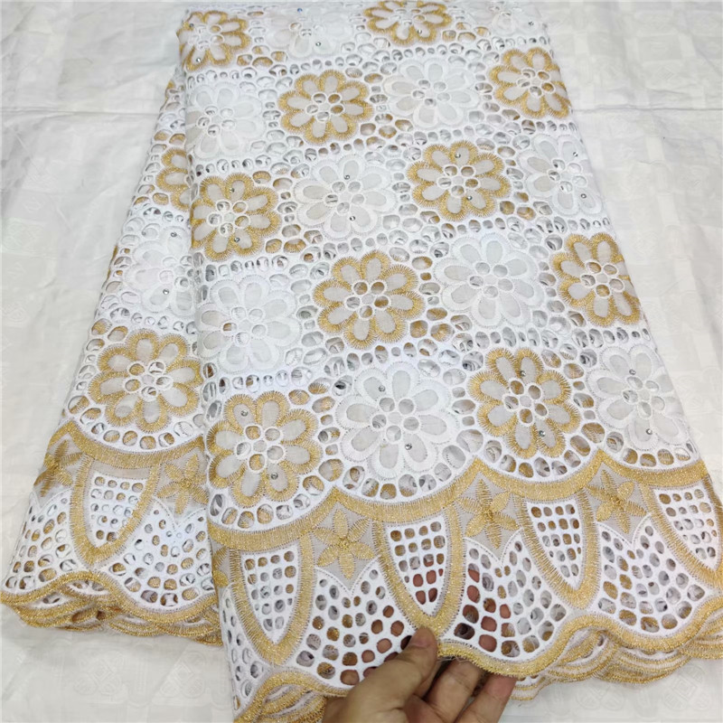 5 Yard Swiss Lace Fabric 2019 Latest Heavy Beaded Embroidery African Cotton Fabrics Swiss Voile Lace Popular Dubai Style 4L1023
