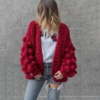Winter Autumn Warm Lantern Sleeves Sweater Knitted Cardigan Sweater Coat Women Large Knitted Sweater Cardigan Jumper Coat 2019
